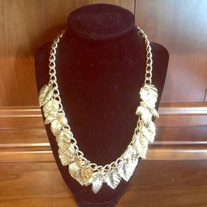 Gold Colored Leaves Chain Necklace